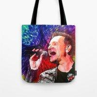 u2 Tote Bags featuring U2 / Bono 3 by JR van Kampen