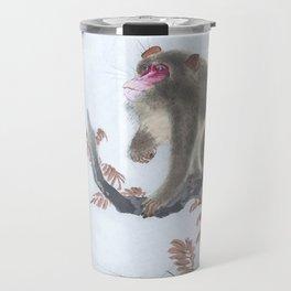 Monkey Looking at the Bird - Traditional Japanese Woodblock Print Art Travel Mug