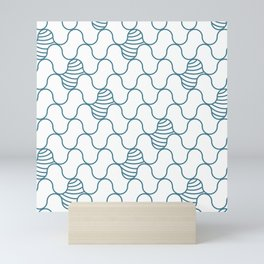 Abstract blue waves on white Mini Art Print