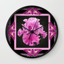 Pink Iris Moths Black-Fuchsia Pattern Abstract Wall Clock