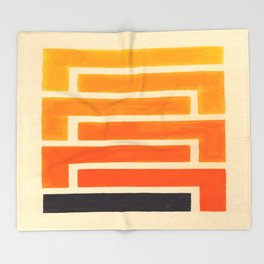 Orange & Black Geometric Pattern Throw Blanket