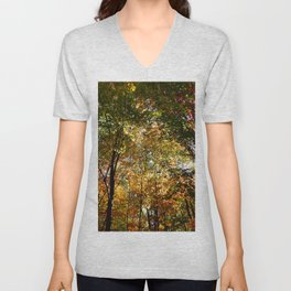 Through the Trees in October Unisex V-Neck