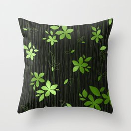Colorful Art Deco Green Flower Pattern Throw Pillow