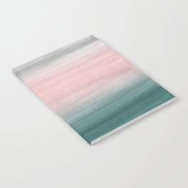 Touching Teal Blush Gray Watercolor Abstract #1 #painting #decor #art #society6 Notebook