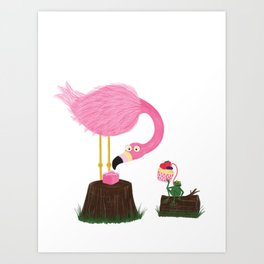 Flamingo & Frog Party Art Print