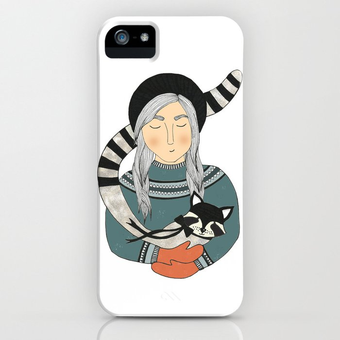 Girl and Raccoon. iPhone Case