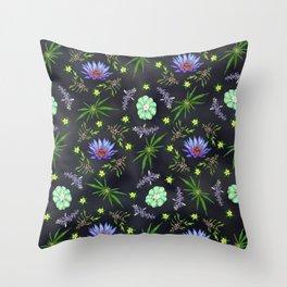 Smokeable Hallucinogenic Plants Pattern Throw Pillow