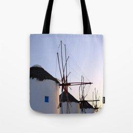 Famous Mykonos Windmills in Greece Tote Bag