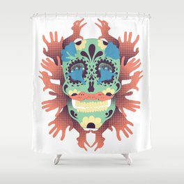 Skull and Hands Shower Curtain