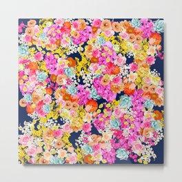 Bright Summer Vintage Inspired Floral Print on Navy  Metal Print