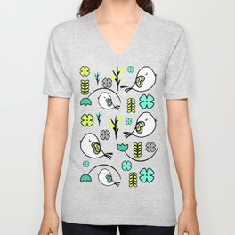 Cute birds and flowers Unisex V-Neck