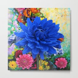 CONTEMPORARY BLUE DAHLIA GARDEN ART Metal Print