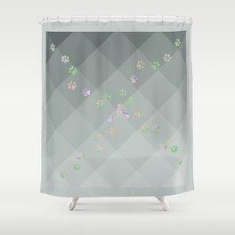 Crazy Cat Track Squares Shower Curtain