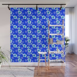 Blue Floral And Turtles Hawaiian Pattern Wall Mural