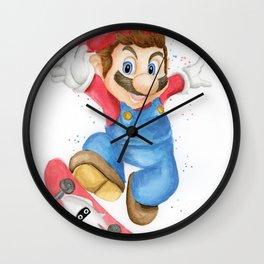 Skateboarder Mario Wall Clock