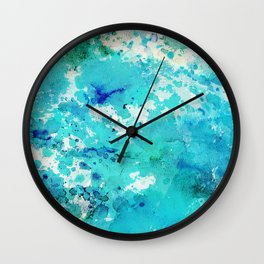 Artistic blue teal hand painted watercolor abstract pattern Wall Clock