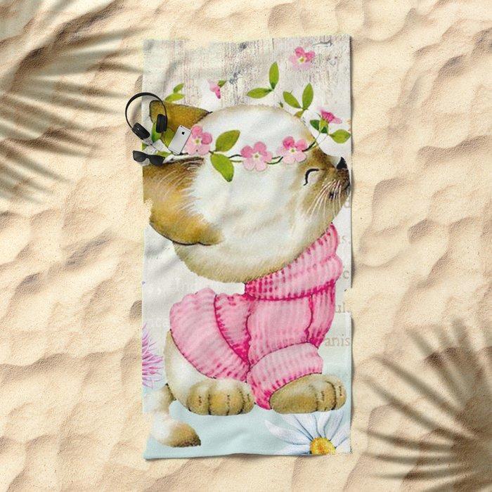 Sweet animal #1 Beach Towel