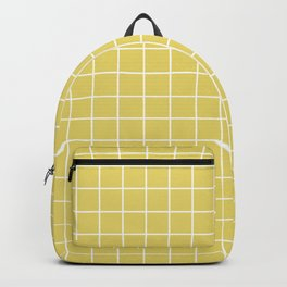 Hansa yellow - beije color - White Lines Grid Pattern Backpack
