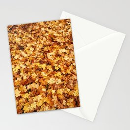 Gold yellow fall maple leaves Stationery Cards