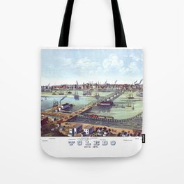 TOLEDO OHIO city old map Father Day art print poster Tote Bag
