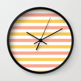 Yellow, coral and white horizontal stripes Wall Clock