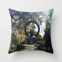buddah Throw Pillows featuring buddah by xtinawicki