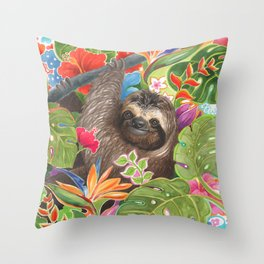 Sloth among exotic flowers Throw Pillow