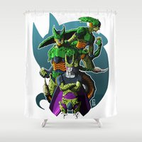 dbz Shower Curtains featuring Cell by FeLipe Aquino