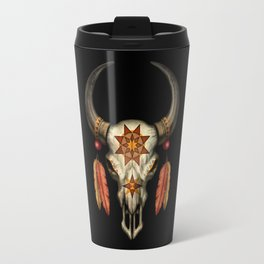 Decorated Native Bull Skull with Feathers Travel Mug