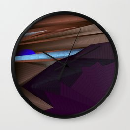 Strange psychedelic landscap with stylised mountains, sea and blue Sun. Wall Clock