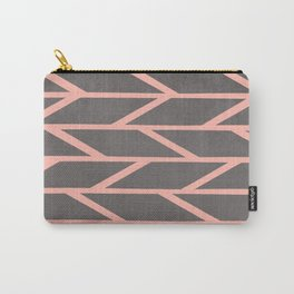 Modern blush pink stripes chevron geometric grey concrete cement background Carry-All Pouch