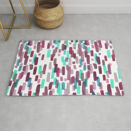 Burgundy and Teal Abstract Watercolor Rug