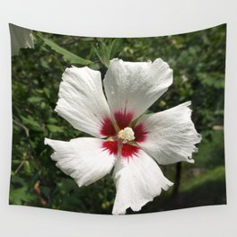 Hibiscus, White Wall Tapestry