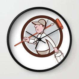 House Painter Paint Roller Can Circle Cartoon Wall Clock
