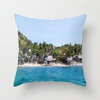 philippines Throw Pillows featuring Chapel Reef at Apo Island Philippines by Jennifer Stinson