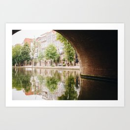 Photo of the Oudegracht with the reflection of Typical Dutch Canal Houses in Utrecht, Holland/The Netherlands | Fine Art Colorful Travel Photography |  Art Print