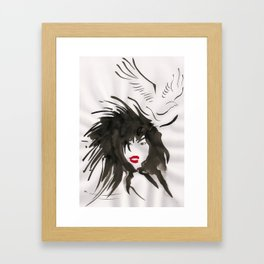 Woman & Bird Framed Art Print