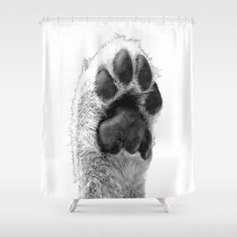 Black and White Dog Paw Shower Curtain