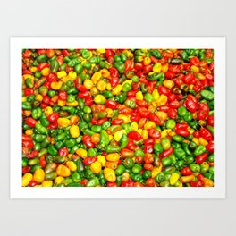 Colorful spicy chili pattern Art Print