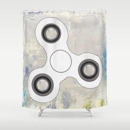 Fidget Spinner In White Shower Curtain