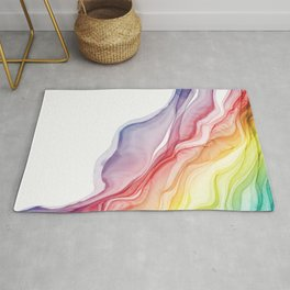 Rainbow Ripples - Alcohol Ink Abstract Rug