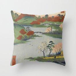 Summer Garden Ukiyo-e Japanese Art Throw Pillow