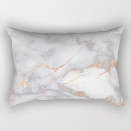 Gray Marble Rosegold  Glitter Pink Metallic Foil Style Rectangular Pillow