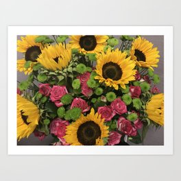 Sunflowers and Little Red Roses Art Print