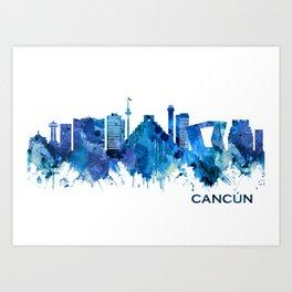 Cancun Mexico Skyline Blue Art Print