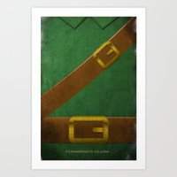 video game Art Prints featuring Video Game Poster: Adventurer by Justin D. Russo