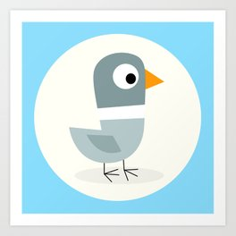 Mr Bird Blue Art Print