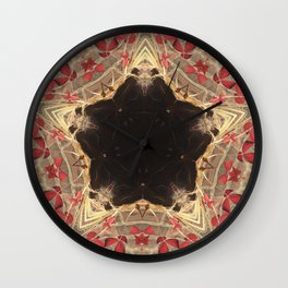 Black Star & Red Clovers Wall Clock