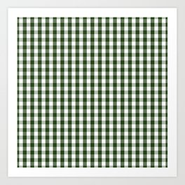 Dark Forest Green and White Gingham Check Art Print