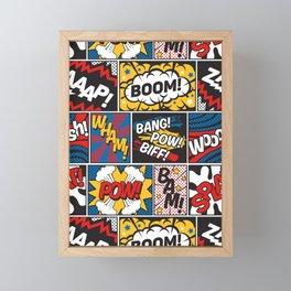 Modern Comic Book Superhero Pattern Color Colour Cartoon Lichtenstein Pop Art Framed Mini Art Print